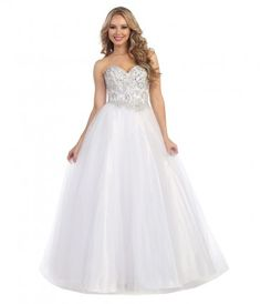 This is a beautiful white gown with a sweetheart neckline. The strapless cut keeps this ball gown flirty and elegant. .....Price - $301.00-2TDbr8Jb