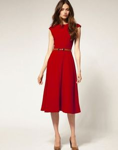 I LOVE LOVE LOVE this color red for a dress!  Had a dress this color and I miss it!  The skirt on this dress I like but the cut off sleeve is NOT my fav
