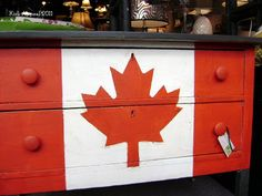 If you are Canadian then you are going to love this red and white painted Canadian flag dresser makeover with maple leaf stencil. Canada Day Fireworks, Canada Maple Leaf, Leaf Stencil, Happy Canada Day, O Canada, Painted Furniture, Upcycled Furniture, Refurbished Furniture, Furniture Projects