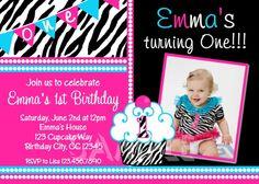 1st Birthday Girl Invitations 1st Birthday Cupcake Party Invitation Printable. $15.00, via Etsy.