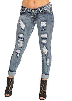 Sexy Butt Lifting Levanta Cola Colombian Style Ripped Ankle Skinny Jeans 10253H - Brought to you by Avarsha.com