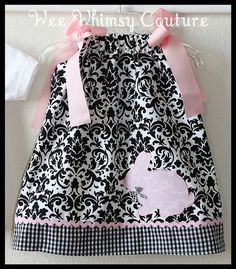 Custom Sweet Damask Bunny Applique dress 3m5t by weewhimsycouture, $24.00