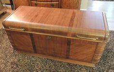 Cedar Hope Chest Cavalier Waterfall Art Deco Vintage RARE Trunk Flip Out Sides | eBay