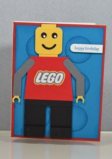 Stampin' Up! Lego Punch Art with Lego Man Minecraft Birthday Card, Birthday Cards For Friends, Lego Birthday, Handmade Birthday Cards, Boy Cards, Kids Cards, Scrapbook Paper Crafts, Scrapbook Cards, Lego Card