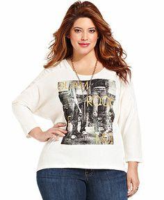 Jessica Simpson Plus Size Three-Quarter-Sleeve Rock-Print Tee #plussizetops #plussizefashion