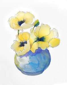 Yellow Poppies Watercolor Painting 11 x 14 print of original #watercolorarts