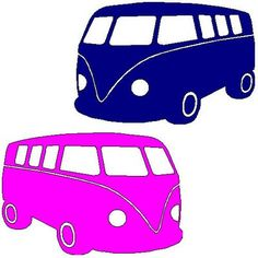 applicatie en zo: veloursmotief VW bus blauw of roze