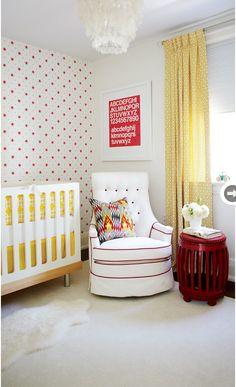 red + yellow nursery   Looking at the one wall with wallpaper behind crib.  Not overwhelming but cute