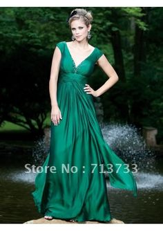 sleeves hunter green Bridesmaid Gown Prom Ball Evening Dress