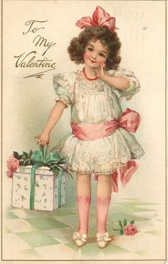 To my Valentine, vintage postcards. Discussion on LiveInternet - Russian Service Online Diaries Valentine Images, My Funny Valentine, Vintage Valentine Cards, Vintage Greeting Cards, Valentine Day Cards, Vintage Abbildungen, Vintage Labels, Vintage Ephemera, Vintage Girls