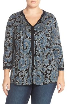 Lucky Brand Paisley V-Neck Top (Plus Size) available at #Nordstrom