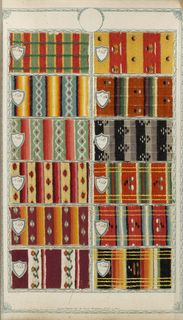 Sample Book (France), late 18th–early 19th century Medium (samples): wool, cotton Technique (samples): warp-faced plain weave.... Accession #1936-29-4