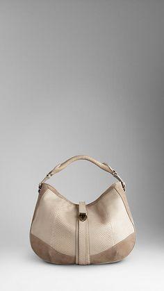 Medium Smoked Python Leather Hobo Bag | Burberry