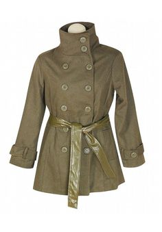 Button front belted coat has two open hip pockets, a removable faux leather belt, and decorative buttons at the cuffs. The back view has a picture of this coat with the coat partially unbuttoned.Material: 90% polyester, 10% wool. Cleaning: Dry Clean. Origin: Made in China. Fit Guide: Size 1x measures: 42 bust, 40 waist, 46 hips. Length: 33 inches.