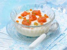 CENA DE NOCHEBUENA.  1er. Plato: Receta de crema de coliflor con daditos de salmón marinado