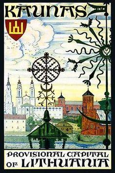 Kaunas Lithuania Baltic Sea Europe Travel Tourism Vintage Poster Repro FREE S/H