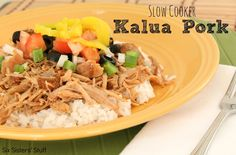 Slow Cooker Kalua Pork Roast from sixsistersstuff.  This recipe is a popular luau recipe you can make from the comfort of your own home! #recipes #slowcooker #pork