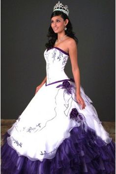 Embroidery Decorated Layered Ball Gown