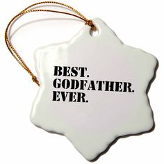 3dRose LLC orn_151497_1 Porcelain Snowflake Ornament, 3-Inch, 'Best Godfather Ever-Gifts for God Fathers or God Dads-Godparents-Black Text' * Hurry! Check out this great product : Wedding Decor
