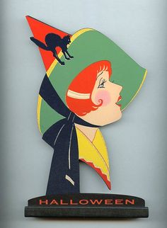 Halloween Witch art deco w/ black cat on hat on base