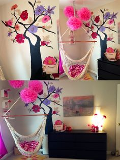 Tween girl's room...Ikea furniture with painted tree and hanging hammock chair. Theme was French city park :)