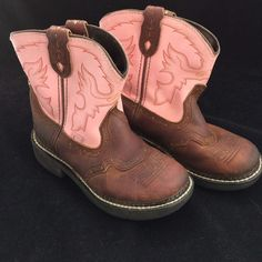 Justin Boots Girls Cowboy Gypsy Size 1D Pink Brown Leather #Justin #CowboyBoots