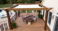 Tensioned Shade Sail Pergola Canopy   OurTensioned Shade Sail Canopy provides full sunprotectionfor your outdoor oasis. This pergola canopy system works on any flat or pitched Structureworks pergola kit and can be easily added to existing shade structuresmade from wood or other materials.  Looking for complete shade? Our canopy blocks 93% of UV A/B