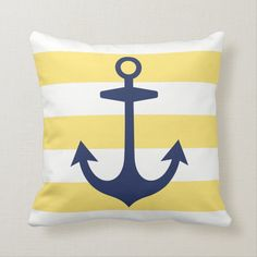 Navy Blue Anchor with Yellow Nautical Stripes Throw Pillow - tap/click to get yours right now! #ThrowPillow  #stripes #modern #nautical #anchor #beach Nautical Stripes, Nautical Art, Nautical Anchor, Nautical Nursery, Chevron, Custom Pillows, Decorative Pillows, Nautical Home Decorating, Coastal Decor