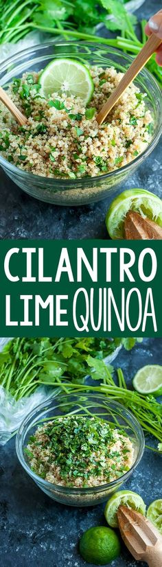 Get your fiesta on with this zesty cilantro lime quinoa. Gloriously gluten-free, vegan, and just plain delicious! Makes a great side or burrito bowl base! This tasty recipe yields 3 cups of fluffy quinoa with cilantro and lime. Healthy Appetizers, Healthy Drinks, Healthy Snacks, Healthy Eating, Healthy Burritos, Healthy Moms, Delicious Appetizers, Mexican Food Recipes, Whole Food Recipes