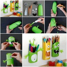 Monster pencil holders using shampoo bottles diy diy ideas diy crafts do it yourself kids crafts monsters pencil holders Shampoo Bottles, Diy Shampoo, Detergent Bottles, Dish Detergent, Kids Crafts, Craft Projects, Craft Ideas, Ideas Fáciles, Ideas Para