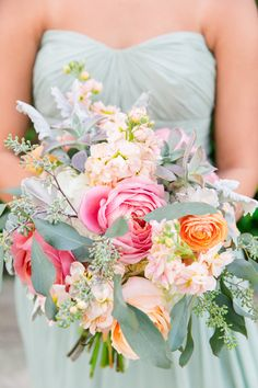 sage green bridesmaid dress with bright bouquet | Photography:  Dana Cubbage