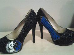 Dallas Mavericks Hand Painted Glitter Heels
