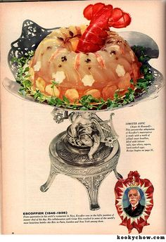 Abandon Hope, All Ye Lobsters Who Enter Here! Lobster Aspic! This lobster died an ignominious death of suffocation by aspic. (Everywoman's Magazine, 1958)
