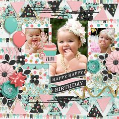 Layout made for the SSD October Bingo Challenge #6 - triangles  Happiness Is: Cake & Confetti by Meghan Mullens & Tickled Pink Studio http://www.sweetshoppedesigns.com/sw...776&page=1  Stitches from Take Note by Tickled Pink Studio - recolored  Fuss Free: What's Your Angle 2 by Fiddle-Dee-Dee Designs available at Scrap Orchard