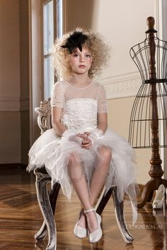 Haute couture dress made of French lace, embroidered all over by hand with pearls, design by Alexandra Plati. Baptism Outfit, First Communion Dresses, Haute Couture Dresses, French Lace, Shoe Collection, Dress Making, Tulle, Flower Girl Dresses, Pearls