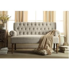 """Upholstered Settee Loveseat with Tufting Back Dimensions: 37"""" high x 59"""" wide x 29"""" deep"""