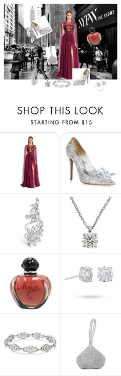 """""""NYFW"""" by golosa ❤ liked on Polyvore featuring Zuhair Murad, Jimmy Choo, De Beers, Christian Dior and Masquerade"""