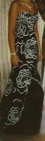 Prom Dress - I HAVE A BLACK/WHITE MERMAID STYLE PROM GOWN. THIS WAS ONLY WORE ONCE BY... #ReferLocal