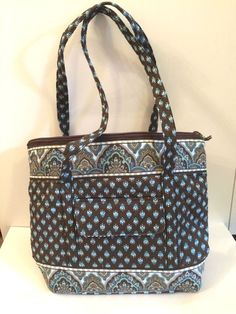 Tote Bag, Medium/ Large, Cotton, Paisley Print, Blue and Brown, Not Vera Bradley #Unbranded #TotesShoppers