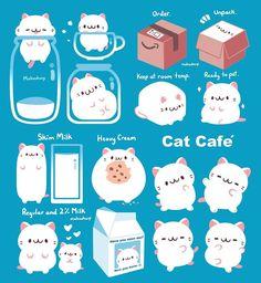 New Ideas Drawing Cute Cat Illustrations Cute Kawaii Drawings, Cute Animal Drawings, Kawaii Art, Drawing Animals, Cute Cat Illustration, Illustration Animals, Cat Illustrations, Chibi, Cute Kawaii Animals