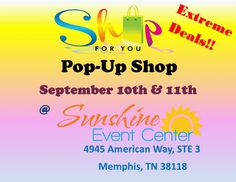 Pop-Up shop for www.shopforyouboutique.com. Hours of operation are: Sept. 10th - 8 am to 8 pm and Sept. 11th - 3 pm to 6 pm. Don't miss this event! This is a chance to check out the new women's clothing and accessories boutique @ www.shopforyouboutique.com!