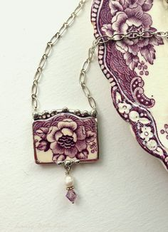Broken china jewelry necklace antique floral purple plum toile English transferware with pearl and crystal