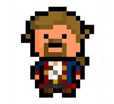 """Guybrush Ulysses Threepwood, mighty pirate and star of the legendary """"Monkey Island"""" adventure series, now rendered in a tiny 16 x 20 pixel format based on his costume in """"Monkey Island 2: Lechuck's Revenge"""".    One of gaming history's greatest characters, and he doesn't even shoot people.     Requested by:   http://iszuka.tumblr.com/"""