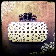 Stud Knockout Clutch in Creme