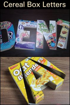 Learn How to Make Big Letter Decor Using Cereal Boxes<br> How To Make Letters, Big Letters, How To Make Box, Cardboard Letters, Cardboard Crafts, Paper Crafts, Diy Letter Boxes, Letter A Crafts, Cereal Boxes