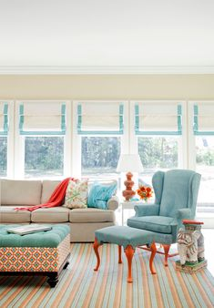 Arkansas designer Tobi Fairley. Love her fearless use of color to modernize traditional furniture. Check out those orange legs! Photos by Nancy Nolan as featured in At Home Arkansas.