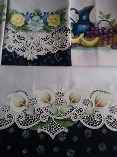Brush Embroidery, Cutwork Embroidery, Vintage Embroidery, Embroidery Stitches, Embroidery Patterns, Beautiful Flower Drawings, Fruit Picture, Lace Painting, Decoration Table
