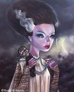 Cool Bride of Frankenstein artwork Made By Kurtis Rykovich Art Edits 🎨 🎨 Dark Fantasy, Fantasy Art, Bride Of Frankenstein, Classic Monsters, Goth Art, Pop Surrealism, Monster Art, Creepy Cute, Halloween Art