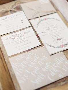 This invitation suite is beautiful! See more on http://www.StyleMePretty.com/2014/04/08/organic-garden-affair-in-san-juan-capistrano/ Photography: Erich McVey - erichmcvey.com
