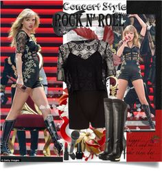 """""""Concert Style: Taylor Swift"""" by sharoncrotty on Polyvore Concert Style, Concert Fashion, Taylor Swift Costume, Straight Bangs, Signature Look, Feminine Dress, Monique Lhuillier, Rebecca Taylor, Red Lipsticks"""
